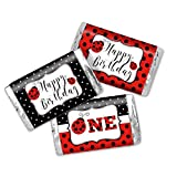 Red Ladybug First Birthday Themed Mini Chocolate Candy Bar Sticker Wrappers for Kids, 45 1.4' x 2.6' Wrap Around Labels by AmandaCreation, Great for Party Favors