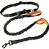 Hundefreund Guinzaglio mani libere per cani da jogging | Arancia e nero elastico e riflettente di 120 – 170 cm | Per corerre, canicross, passeggiate ed escursioni