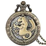 DZX Reloj de Bolsillo de Cuarzo con Caja Hueca de Bronce clásico para Hombre, Relojes de Bolsillo con patrón de alquimista Antiguo para niños, Elegante Reloj Colgante con Esfera Blanca para homb