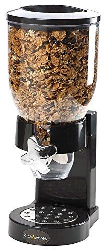 Dispensador de cereales transparente hermético con bandeja integrada para alimentos secos, cereales para el desayuno, alimentos para mascotas, dulces y comidas (negro)