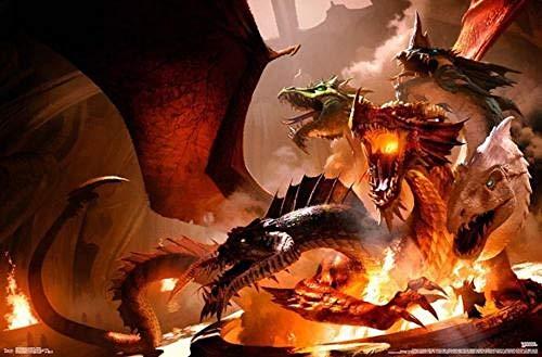 FPRW® Lustige Puzzles, Dungeons und Drachen - Tiamat Adults Holzpuzzle Bild, Freizeit-Unterhaltungsspiel Toy-1000 Pieces