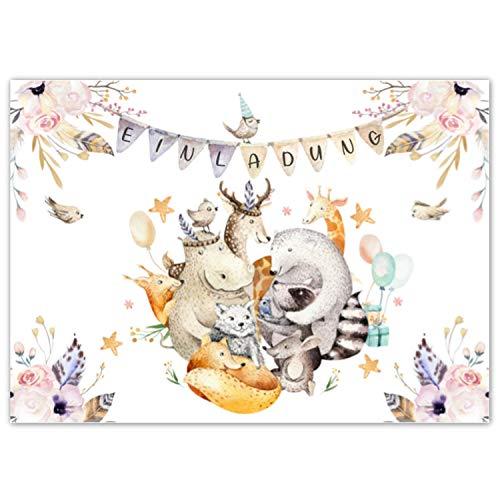 Pandawal Kindergeburtstag Einladungskarten 12x süße Waldtiere Karten tolle Einladung für Kinder geeignet für Mädchen und Junge Ideal für Geburtstag Babyparty Kinderparty Pyjama Party