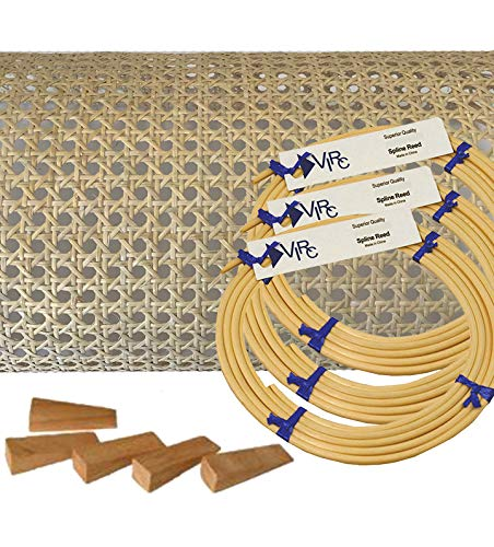 Pressed Cane Webbing Kit 5/8' Medium Open Mesh with splines, Wedges and Instructions