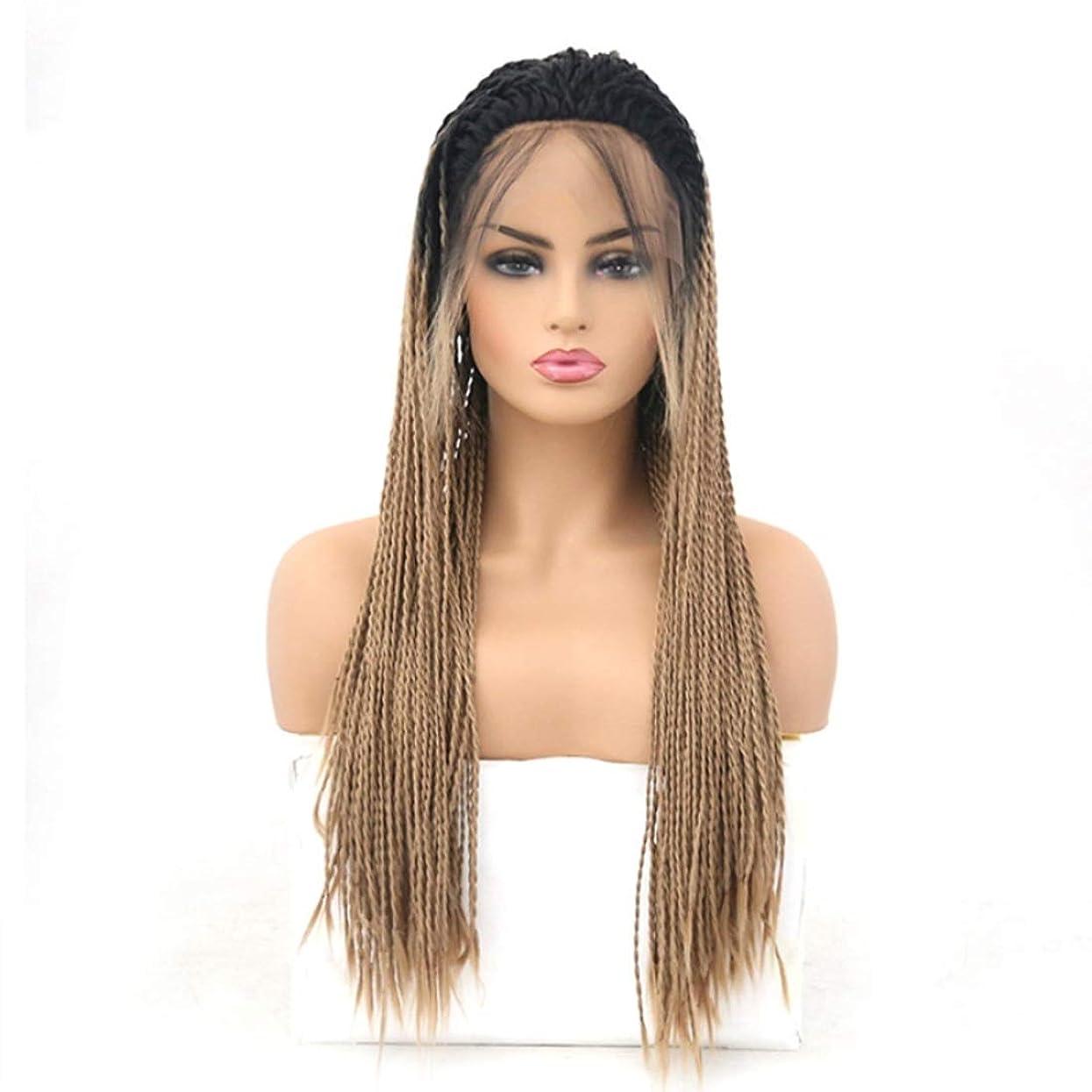 照らす靴フォルダSummerys 女性のための前髪の毛髪のかつらとフロントレースグラデーションかつら耐熱合成かつら (Size : 22 inches)