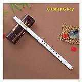 ERLIZHINIAN Flauta de bambú Xiao Chino Vertical Piccolo Shakuhachi Classic Tradicional Music Instrument Short Dizi Xiao (Color : White 8 Hole G Key)