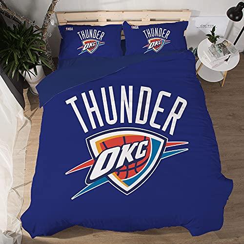 NBA Team Oklahoma City Thunder Logo Patrón Funda edredón suave Juegos 3 piezas Funda nórdica impresa 3D 2 fundas almohada Juegos ropa cama para fanáticos del baloncesto Decoración habitación los niños