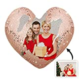 Heart-Shaped Sequined Pillow Custom Photo Pillow Magic Mermaid Sequined Pillow Personalized Throw Pillow Christmas for Women(Pillowcase + Pillow Core Champagne Single-Sided 4040cm/15.7515.75 IN)