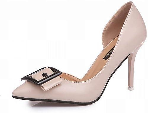 Hhor Bouts Bouts de Chaussures de Travail de Chaussures de Mode avec des Chaussures à Boucle à Talon Haut (Couleuré   Beige Beige, Taille   34)  sélectionnez parmi les dernières marques comme