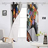 Blackout Curtains set of 2 panels 52x72 inch Color Zebra Piebald Pony Thermal Insulated Window Curtains