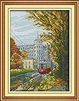 クロス ステッチ DIY 手作り刺繍キット 正確な図柄印刷クロスステッチ11CT 家庭刺繍装飾品 トラム 40X50CM