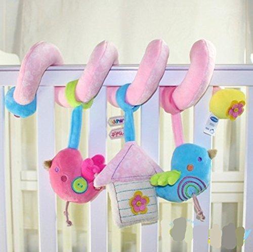 Morbuy Newborn Lit/Berceaux/Buggy/Pram Haning Jouets en peluche Animaux avec Miroir et Bell (Oiseau rose)