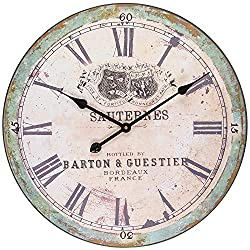 BEW Rustic Wall Clock, Large Vintage Sauternes Decorative Clock with Roman Numerals, Silent Wooden Hanging Clock for Living Room, Bedroom, Farmhouse, Apartment, School, Hotel - 24 Inch