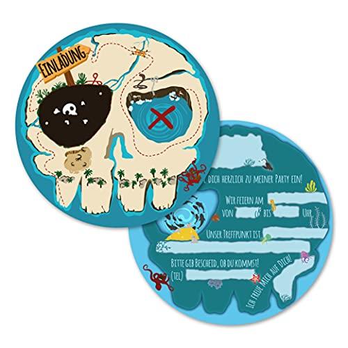 12 Einladungskarten für den Kindergeburtstag, die Geburtstagseinladung für jede Piraten Party (Rund)