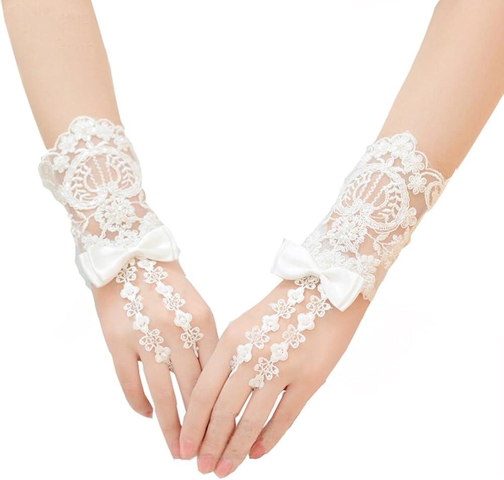 VeraQueen Women's Beige Hollow Lace Floral Fingerless Bride Gloves Wedding Gloves