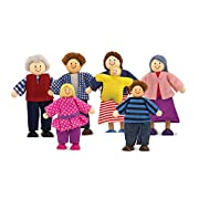 WOODEN DOLL FAMILY: This beautiful wooden doll family set is perfect for populating play sets or playing family in any imaginative setting! MOVE AND POSE: Set includes 7 pose-able people with moveable, flexible limbs. Dolls include parents, grandpare...