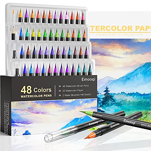 Watercolor Brush Pens , Emooqi 48 Color Watercolor Pen set with 20 Watercolor Paper and 2 Water Brushes , HB Sketch pencil for Calligraphy, Drawing and Writing