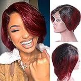 BLISSHAIR Ombre 1B/99J Peluca rizada corta de cabello brasileñas virgen remy de cabello humano para mujer Peluca rizada corta de cabello virgen 100% sin procesar 8 inch
