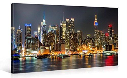 Gallery of Innovative Art - ILLUMINATED MANHATTAN NEW YORK 100x50cm #e4348 - Impresión Giclee en lienzo, foto lienzo Wall Art- Fotos en lienzo montadas sobre bastidor – Im?genes en lienzo XXL en alta resolución