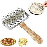 LHK Perforatrice per Pizza, Docker a rulli, Utensile da Forno Multifunzione in Acciaio Inossidabile per Pasta con Manico in Legno, per Torta di Biscotti