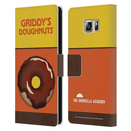 Head Case Designs Ufficiale The Umbrella Academy Cioccolato Griddy's Ciambelle Cover in Pelle a Portafoglio Compatibile con Samsung Galaxy S6 Edge+ / Plus