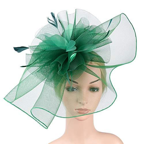 D&XQX Sombrero de Copa Mujer Sombreros Fascinator Sombrero Flor Pluma Malla Kentucky Derby té Fiesta Hairband,Verde