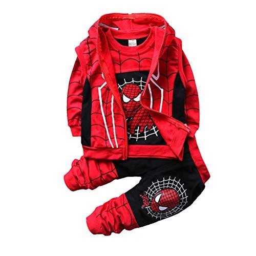 AsKong 3-teiliger Spider-Man-Anzug für Jungen, Sweatshirt, lange Hose, Reißverschlussweste, Größe 1–8 Jahre Gr. 80 cm Höhe, Schwarz