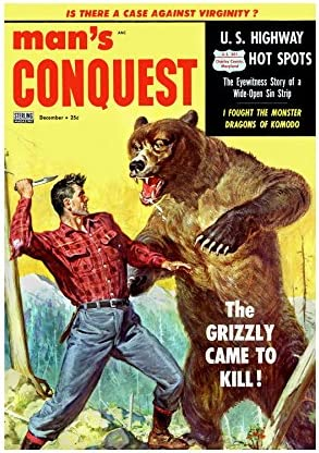 QUALITY FINE ART PRINTS Comic Mans Conquest Grizzly Bear Fight Knife Print F12X3054 product image