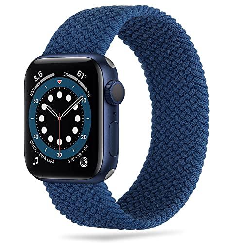 Tasikar Correas Solo Loop Trenzada Compatible con Correa Apple Watch 44mm 42mm 40mm 38mm, Pulsera de Repuesto Nylon de Elástica Compatible con iWatch Serie 6 5 4 3 2 1, SE(42mm/44mm-L, Azul)