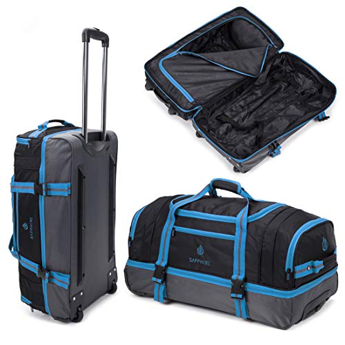 Blue Lightweight Medium Holdall with Wheels Carry, Grab, Pull or Drag Trolley Handle Wheeled Trolley Holdall Suitcase Duffle Bag Travel Bag 22 Inches