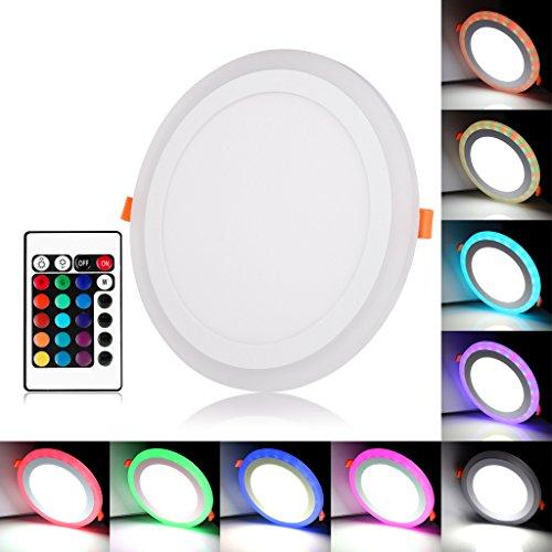 BLOOMWIN Doble Color LED empotrable de Techo Lámpara Downlights Redondo 3 Modos de iluminación 24W Blanco y RGB