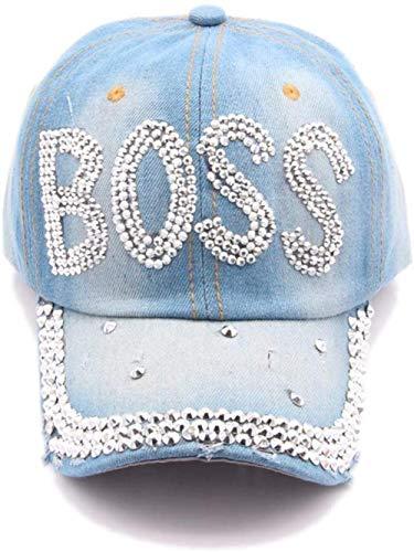 HANJINYU Baseballkappe,Einzigartige Frauen S Mode Persönlichkeit Boss Briefe Strass Denim Baseball Cap Outdoor Freizeit Hip-Hop Sonnenschirm Sonnenhut
