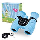 QNIGLO Shock Proof Kids Binoculars,Toys for 3-12 Year Old Boys Girls, 10x22 High Resolution Binoculars for Kids, Best Gifts for Boys Girls(Blue)