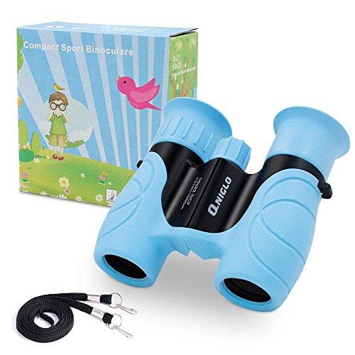 QNIGLO Prismáticos Compactos a Prueba de Golpes para Niños Binoculares Alta Resolución 10x22,Observación de Aves Excursiones Caza Aprendizaje,Mejores Juguetes y Regalos de Niños(Azul)