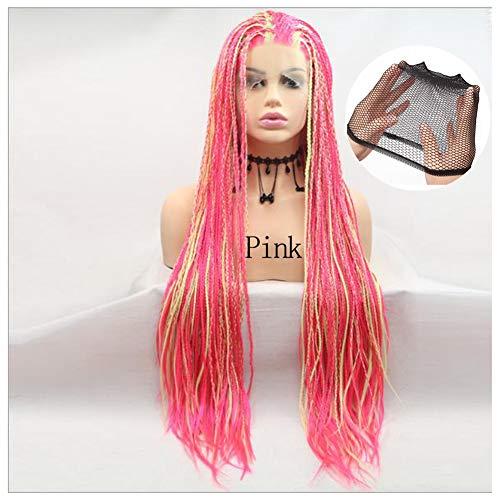 Synthetische Lace Front Wigs Gevlochten Pruiken Afro Roze Haar voor Vrouwen Hittebestendige lange vlechten Daily Wear Wig Lijmloze Half Hand Gebonden,Pink