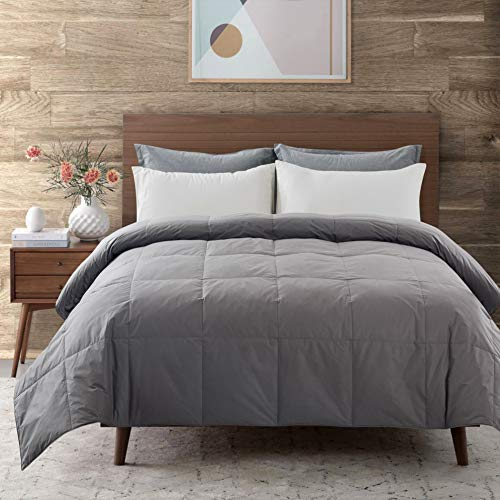 DOWNCOOL Cotton Goose Duck Feather Down Comforter - Lightweight Quilted Duvet Insert with Corner Tabs - Box Stitched Stand-Alone Comforter- Dark Grey, King