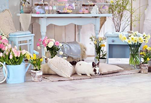 Fondos de Pascua para fotografía Flores Conejo Huevos Cubo Piso Gris Fiesta de bebé Photozone Fondo fotográfico Estudio fotográfico A11 7x5ft / 2.1x1.5m