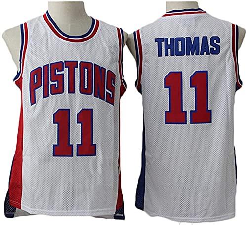 jiaju Ropa Baloncesto para Hombre NBA Jersey Vintage Detroit Pistons 11# Thomas Transpirable Secado rápido Sin Mangas Vestima Top para Deportes, Blanco, M (Color : White, Size : S)