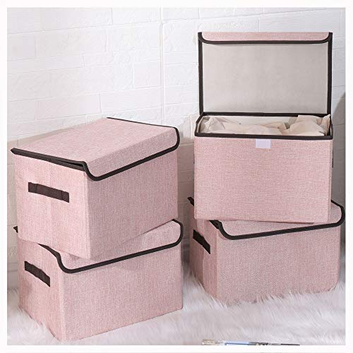 Bagnizer Foldable Storage Bins with Lids for Clothes Fabric Storage Box with Handles Storage Baskets Containers Collapsible Organizer for Closet Toys Office Nursery Bedroom 4-packPink