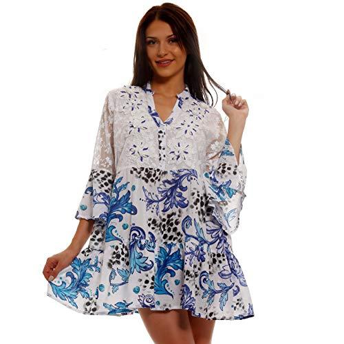 Damen Boho Minikleid Tunika Kleid mit Spitze und Pompons Made in India stylisches Strand-Kleid oder Party-Kleid Jumper aus 100% Baumwolle - Freizeit-Kleid (S-M, Mehrfarbig / Royalblau Model 2)