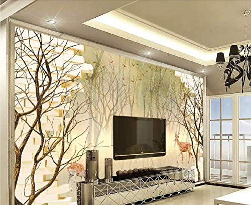YBHNB Fototapete 3D Wallpaper Benutzerdefinierte Moderne Reminiscent Abstract Handgemalte Big Tree Reindeer Elk Hintergrund Wand-450X300Cm