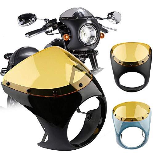 Guajave Café Corredor Manillar Faro Parabrisas 7 Inch Carenado Pantalla para Harley Moto - Azul
