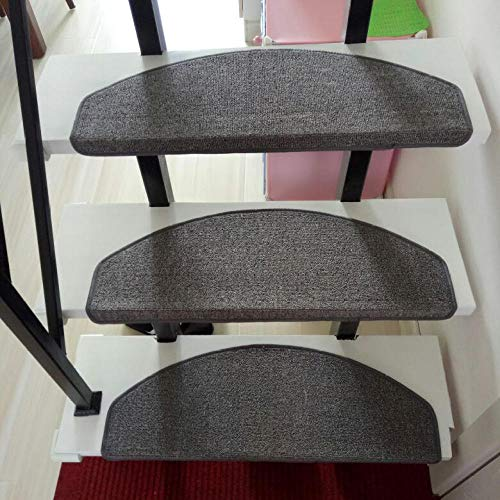 XOCKYE 15 Pezzi Tappeti per Scale, Tappetino Antiscivolo Autoadesivo Sticker Moquette Scale Bambini Blocchi di Sicurezza Decorazione Casa@Grigio_65x24CM