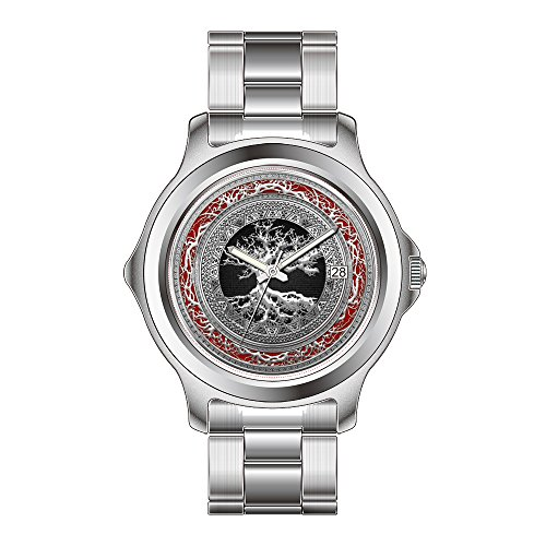 FDC Christmas Gift Watches Men's Fashion Japanese Quartz Date Stainless Steel Bracelet Watch Treasure Trove Celtic Tree of Life Silver Wristwatches