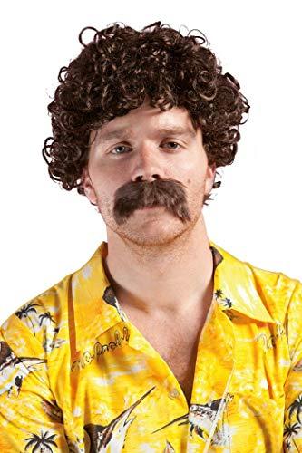 P'TIT CLOWN 81183 Lucien peluca y bigote, rizos pequeos, marrn
