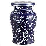 Jonathan Y TBL1017A Cherry Blossom 17.7' Ceramic Garden Stool, Navy/White