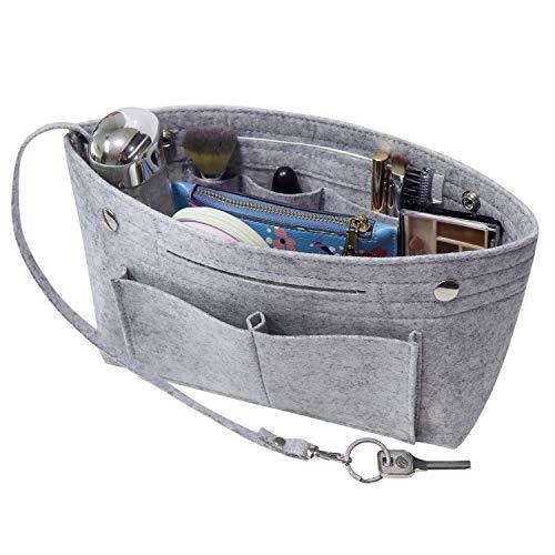 Soyizom Filz Handtasche Organizer Bag in Bag,Innentaschen für Handtaschen Organizer mit Schlüsselkette für Speedy Neverfull,8 Farben(Hellgrau,Klein)