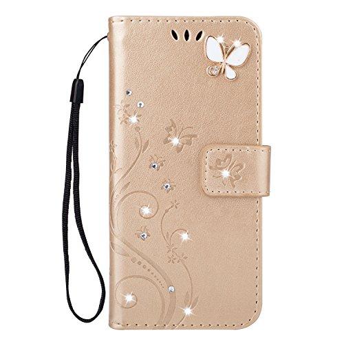 Homikon PU Leder Hülle Retro Schön Schmetterling Blume Schutzhülle für Mädchen Brieftasche Ledertasche Bling Glänzend Glitzer Diamant Handyhülle Etui Kompatibel mit Samsung Galaxy A40 - Gold