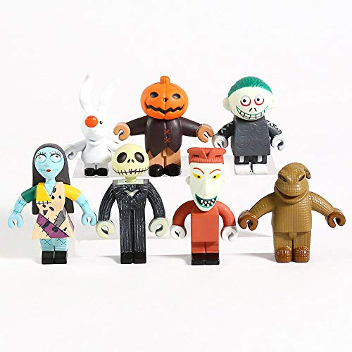 7 unids / Set Pesadilla Antes de Navidad Skellington Mini PVC Figuras Juguetes 4.5-5.5cm