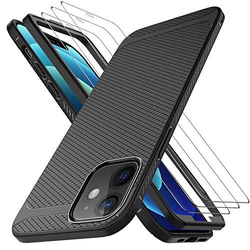 LUIBOR per Cover iPhone 12 mini (5.4 inch)+ Vetro Temperato iPhone 12 mini (3 Pezzi), Vetro temperato AntiGraffio HD AntiGraffio Nero Sottile Morbido Custodie Protettivo