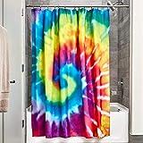InterDesign Tie Dye Duschvorhang | kunstvoller Vorhang für Badewanne & Dusche in 183,0 cm x 183,0 cm | Duschvorhang aus Stoff mit Batik-Muster| Polyester bunt